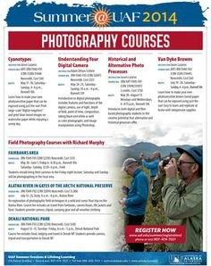 Summer courses in photography.