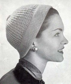 Free knitting pattern for a vintage beanie topped with a covered button