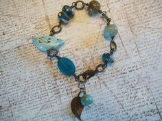 Blue Toned Ceramic Bead Bracelet with Vintaj Spacers by shepbrun, $32.00