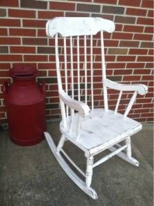 Old rocking chair made shabby chic
