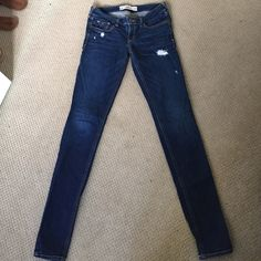 Hollister skinny jeans Cute dark wash Hollister jeans! These fit a little tighter than the average 3 which is why I'm selling but otherwise in perfect condition! Hollister Jeans Skinny