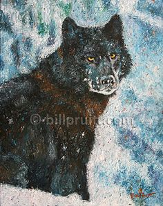 ORIGINAL oil daily painting a day Wolf in the by billpruittart #WolfPainting #WolfArt