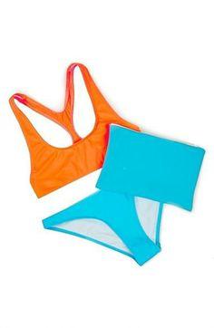 Red and blue summer basics | Ashish x Topshop Fluro Racerback Bikini