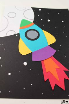 - A Dab of Glue Will Do- Paper Craft - A Dab of Glue Will Do- Use this Paper Rocket Craft with your little learners during your science units or during arts and crafts time. Perfect to practice fine motor skills. Outer Space Craft For Kids Outer Space Crafts, Space Crafts For Kids, Projects For Kids, Art For Kids, Craft Projects, Craft Ideas, Craft Space, Kids Fun, Sand Crafts