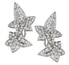 Boucheron Lierre de Paris rough and faceted diamond studs.