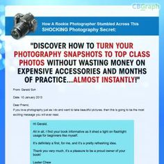 Discover How To Turn Photography Snapshots To Top Class Photos Without Wasting Money On Expensive Accessories And Months Of Practice! High Commissions On Main & Upsell Product. Free Promotional Tools: Http://www.photographyxfactor.com/affiliate.html See more! : http://get-now.natantoday.com/lp.php?target=photos098