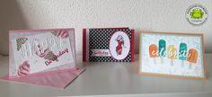Stampin Up! Workshop results cool treats DSP frozen treats stamp set framelits embossing folder celebrate happy debossing