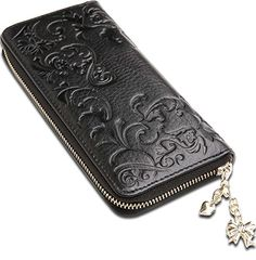 Chrysansmile Embossed Flower Pattern Leather Wallet Clutch Bifolds Women Money Clips *** Continue to the product at the image link.