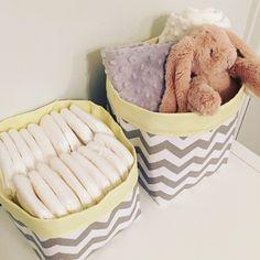 Grey Chevron Fabric Storage Baskets (Pair) with Yellow Lining - Nappy Storage Nursery Decor Diaper Storage Baby Shower Gift & Chevrons Fabric Basket - Monogrammed - Nappy Basket Diaper Caddy ...