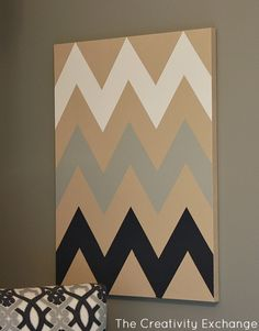 DIY Multi-Colored Chevron Canvas Art with Printable Stencil…
