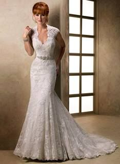 Bridal Gowns: Maggie Sottero Sheath Wedding Dress with V-Neck Neckline and Natural Waist Waistline. Too much on the bottom, kind of interested in the top Lace Bridal, Maggie Sottero Wedding Dresses, Wedding Dress Train, Lace Mermaid Wedding Dress, Bridal Wedding Dresses, Wedding Dress Styles, Designer Wedding Dresses, Backless Wedding, Ivory Wedding