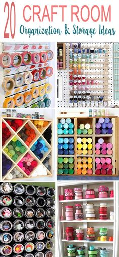 Room Organization Tips - 20 Craft Room Organization & Storage Ideas. Room Organization Tips – 20 Craft Room Organization & Storage Ideas… Sewing Room Organization, Small Space Organization, Craft Room Storage, Storage Organization, Storage Ideas, Organizing Ideas, Craft Shelves, Paint Storage, Organizing Life