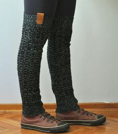 Extra Long Leg Warmers in Black with Leather Women's Leg Warmers  Knitted Leg Warmer in black and gray