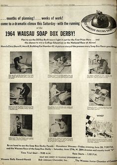 June 22, 1964 - The 1964 Wausau Soap Box Derby. Photos of Chris Sheriff, Merrill, building car no. 43.