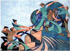 Sybil Andrews / The Giant Cable / 1931 / linocut English Artists, Canadian Artists, Sybil Andrews, Auckland Art Gallery, Print Artist, Linocut Prints, Blue Backgrounds, Art Forms, Printmaking