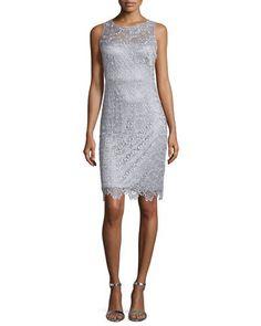 TBWNL Sue Wong Sleeveless Lace Sheath Cocktail Dress