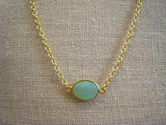 aqua chalcedony necklace - gold