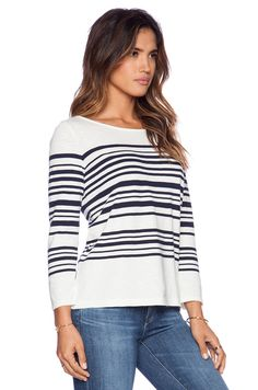 the classic stripes on this cotton sweater will forever by in style #Joie