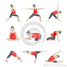 Set of 9 Yoga poses for Pregnant women.