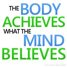 The body achieves what the mind believes, so believe in yourself. :)