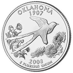 "Oklahoma, became our 46th state on November 16, 1907. The State bird, the Scissortail Flycatcher, with its distinctive tail feathers spread, is soaring over the State wildflower, the Indian Blanket (Gaillardia). Oklahoma was formed by the combination of the Oklahoma Territory and the Indian Territory of the Five Civilized Tribes -  Choctaw, Chickasaw, Creek, Seminole, and Cherokee. The State's name is derived from the Choctaw words ""okla"" and ""homma,"" meaning ""red"" and ""people."""