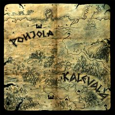 Kalevala Map Finland Culture, Immigrant Song, Medieval World, My Heritage, Gods And Goddesses, Cartography, Folklore, Archaeology, Mythology