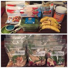 Lactation boosting smoothie freezer baggies!  1/2 banana  1 cup frozen fruit  1/2-1 cup spinach  1/2 cup oats  1 tbsp Brewers Yeast   I wrote on mine to add milk, peanut butter, and honey to them before blending.   You could also add yogurt if you wanted to.  EDIT- after trying my smoothie bags out, I would leave out the bananas and spinach and add them later when I was ready to make the smoothies.
