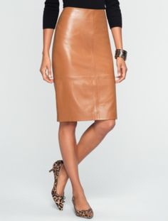 7dee72b5f6 Leather Pencil Skirt and Leopard Audrey Sweater Talbots Renaissance at  Colony Park 601.856.3435 #