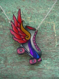 Roller Derby Skate w/ Wings Necklace