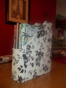 Cereal Boxes magazine holder with patterned contact paper/shelf liner