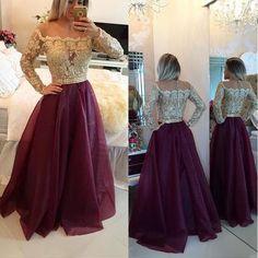 2017 long prom dress, long sleeve prom dress, red prom dress, prom dress 2017, a line prom dress,
