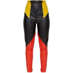 Black Faux Leather Belted Motocross Trousers (52 CAD) ❤ liked on Polyvore featuring pants, faux leather trousers, vegan leather pants, faux-leather pants, leather look pants and imitation leather pants