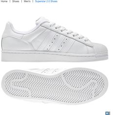 brand new 442c3 aed9a Superstar 2.0 White on White on White Adidas Men, Adidas Shoes, Shell Tops,