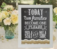 Pick A Seat Not A Side Wedding Sign Chalkboard by justforkeeps, $10.00