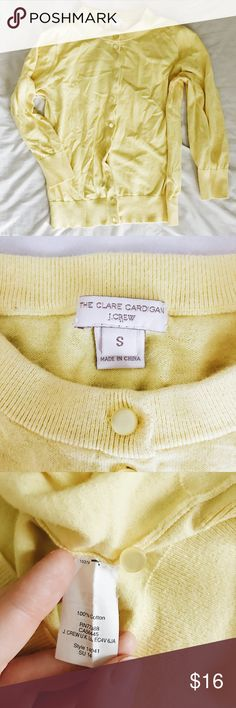 J. Crew Yellow  3/4 Sleeve Clare Cardigan *CONSIDERING OFFERS! No trades.* 100% Cotton cardigan from J. Crew Factory in great condition! Color is bright and perfect for spring and summer. Includes replacement button sewn into inner hem. Color is no longer available online, but original product listing at https://factory.jcrew.com/p/14041 . Also selling in bright pink! J. Crew Factory Sweaters Cardigans