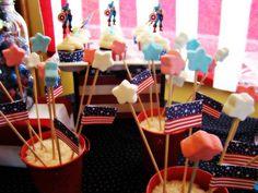 Captain America Party    Star marshmellows on sticks