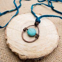 Turquoise Howlite & Copper Long Necklace Deep Aqua by RococoRiche