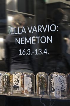 Ella Varvio: Nemeton glass art exhibition. The exhibition's name Nemeton means a sacred place in a Celtic religion. Theme of the exhibition is a mystical forest and Varvio interprets the theme with her illustrations in the glass.Galleria Mafka&Alakoski, spring 2017.