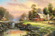 """""""Sunset at Riverbend Farm"""" was Thomas Kinkade's first painting depicting a working farm. As the sun sets on this day, we hope you enjoy the sense of peace and serenity that Thom had hoped to create with this painting."""