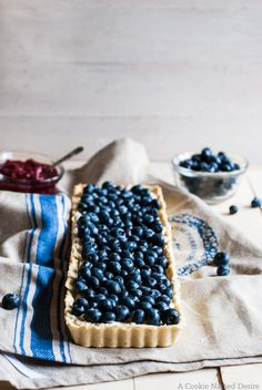 Blueberry Mascarpone Tart with Raspberry Compote | A Cookie Named Desire