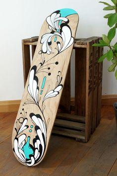If you love skating and art- equally, then it's high time you brought the two together. Try out some DIY Skateboard deck Art Ideas and you will feel happier than ever to ride it. Painted Skateboard, Skateboard Deck Art, Longboard Decks, Electric Skateboard, Surfboard Art, Skateboard Design, Skateboards For Sale, Snowboard Design, Posca Art