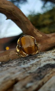 Tiger eye semi precious stone in gold plated by BlingThingsJewelry