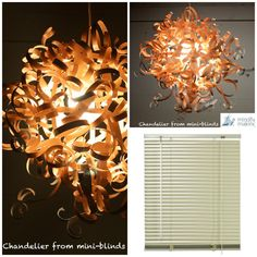 Chandelier made from old min-blinds. Who would have thought of this? WOW! Neat idea!