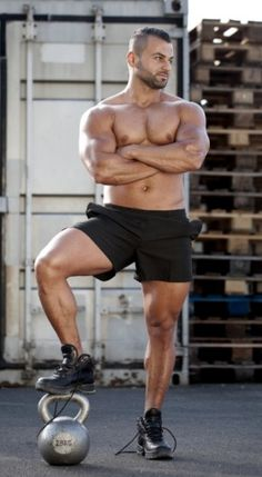 Bodybuilder with a Kettlebell