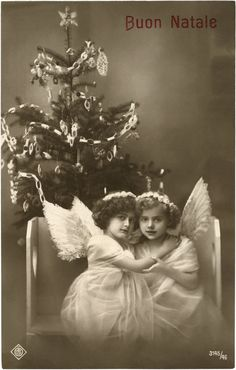 Old Photo Cute Angel Girls - Italian Precious! - The Graphics Fairy