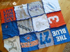 School spirit t-shirt blanket. I want to do this with all my old high school tshirts!! I never wear them anymore, but don't wanna throw them away...this is perfect!!