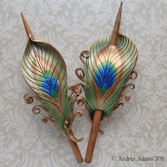 Peacock Feather Hair Slides by Beadmask on deviantART                                                                                                                                                                                 More
