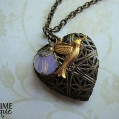 FAIRYTALES - Scent Locket Necklace with raw brass hummingbird, filigr | JetaimeBoutique - Jewelry on ArtFire