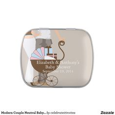 Modern Couple Neutral Baby Shower Favor Candy Tin