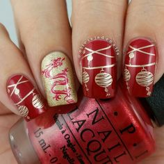 Red Year of the Sheep/Goat 2015 Chinese New Year Nails by @oliviajadenails